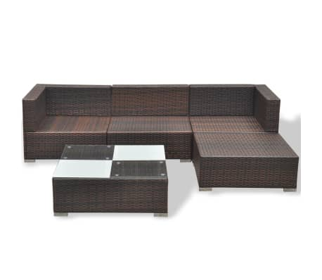 vidaXL 5 Piece Garden Lounge Set with Cushions Poly Rattan Brown[7/12]