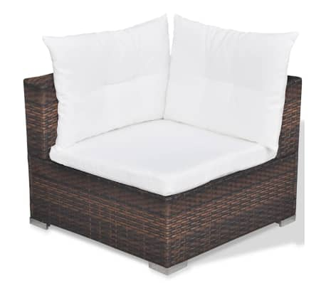 vidaXL 5 Piece Garden Lounge Set with Cushions Poly Rattan Brown[9/12]