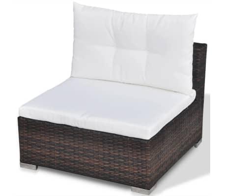 vidaXL 5 Piece Garden Lounge Set with Cushions Poly Rattan Brown[10/12]