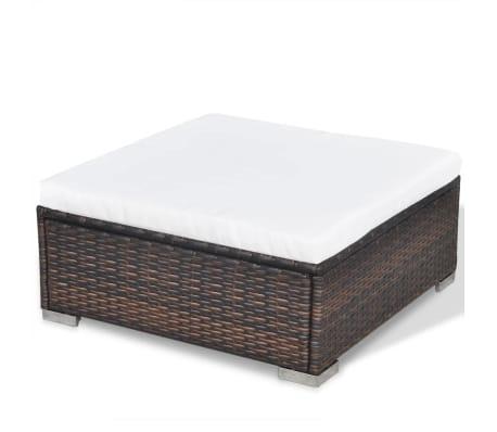 vidaXL 5 Piece Garden Lounge Set with Cushions Poly Rattan Brown[11/12]