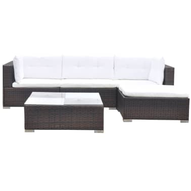 vidaXL 5 Piece Garden Lounge Set with Cushions Poly Rattan Brown[3/12]