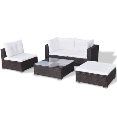 vidaXL 5 Piece Garden Lounge Set with Cushions Poly Rattan Brown[5/12]