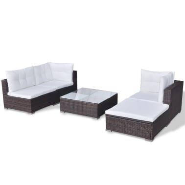 vidaXL 5 Piece Garden Lounge Set with Cushions Poly Rattan Brown[6/12]