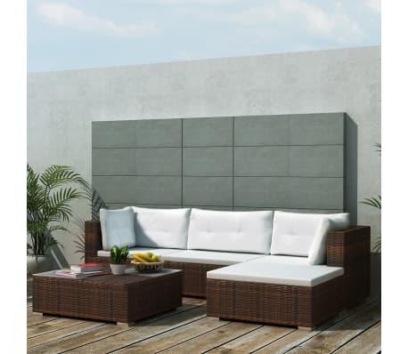 vidaXL 5 Piece Garden Lounge Set with Cushions Poly Rattan Brown[1/12]