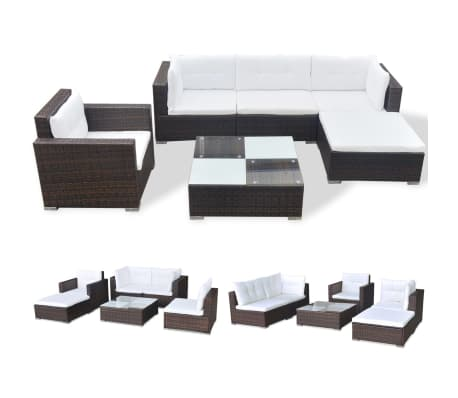 vidaXL 6 Piece Garden Lounge Set with Cushions Poly Rattan Brown[2/12]