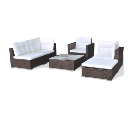 vidaXL 6 Piece Garden Lounge Set with Cushions Poly Rattan Brown[5/12]