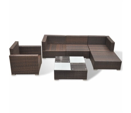 vidaXL 6 Piece Garden Lounge Set with Cushions Poly Rattan Brown[6/12]