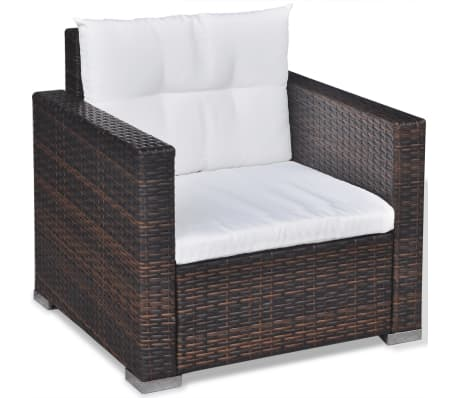 vidaXL 6 Piece Garden Lounge Set with Cushions Poly Rattan Brown[7/12]
