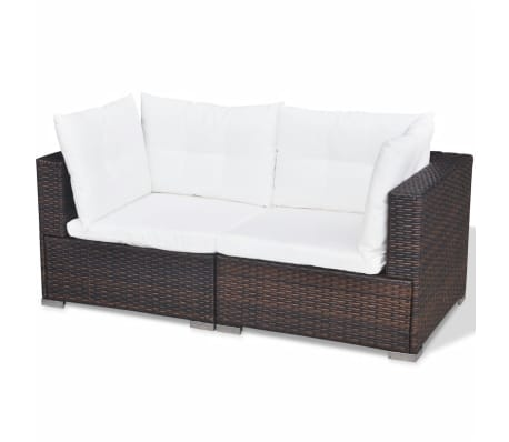 vidaXL 6 Piece Garden Lounge Set with Cushions Poly Rattan Brown[11/12]