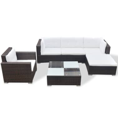 vidaXL 6 Piece Garden Lounge Set with Cushions Poly Rattan Brown[3/12]