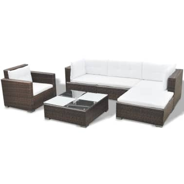 vidaXL 6 Piece Garden Lounge Set with Cushions Poly Rattan Brown[4/12]