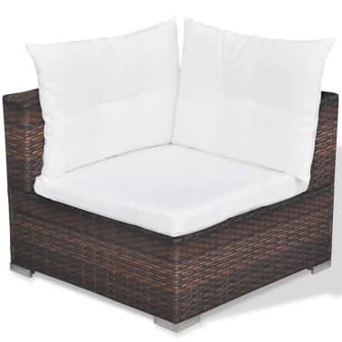 vidaXL 6 Piece Garden Lounge Set with Cushions Poly Rattan Brown[8/12]