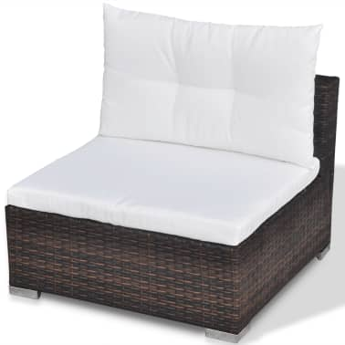 vidaXL 6 Piece Garden Lounge Set with Cushions Poly Rattan Brown[9/12]