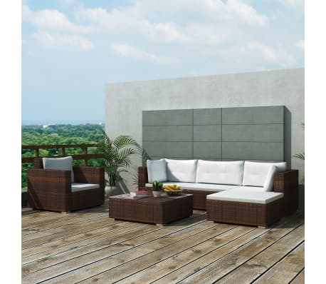 vidaXL 6 Piece Garden Lounge Set with Cushions Poly Rattan Brown[1/12]