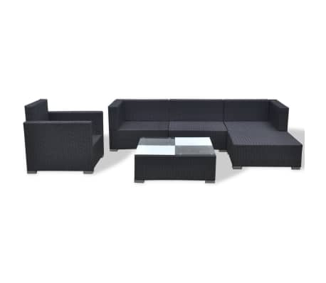 Vidaxl Garden Sofa Set 17 Pieces Poly Rattan Black 7 13