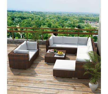 Details about vidaXL Garden Sofa Set 32 Pieces Wicker Poly Rattan Brown  Outdoor Lounge Seat