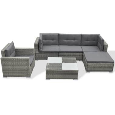 vidaXL 6 Piece Garden Lounge Set with Cushions Poly Rattan Gray[2/7]