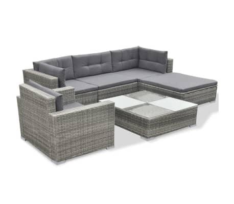 vidaXL 6 Piece Garden Lounge Set with Cushions Poly Rattan Gray[3/7]