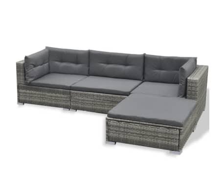 vidaXL 6 Piece Garden Lounge Set with Cushions Poly Rattan Gray[5/7]