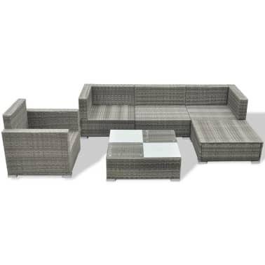 vidaXL 6 Piece Garden Lounge Set with Cushions Poly Rattan Gray[4/7]