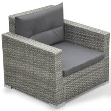 vidaXL 6 Piece Garden Lounge Set with Cushions Poly Rattan Gray[6/7]