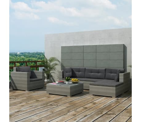 vidaXL 6 Piece Garden Lounge Set with Cushions Poly Rattan Gray[1/7]