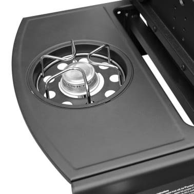 vidaXL Gasbarbecue 4+1 kookzone zwart en zilver[5/7]