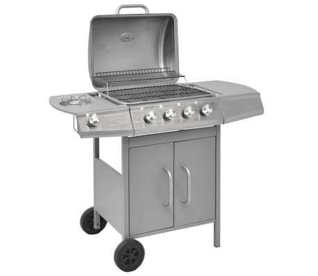 vidaXL Gas Barbecue Grill 4+1 Cooking Zone Silver