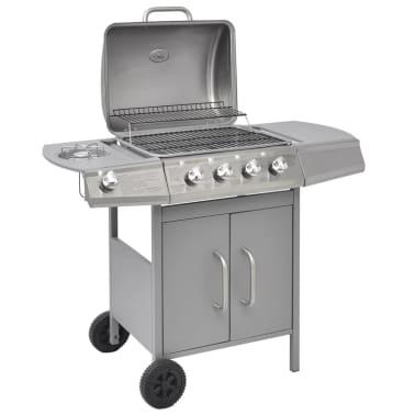 vidaXL Gasbarbecue 4+1 kookzone zilver[1/8]