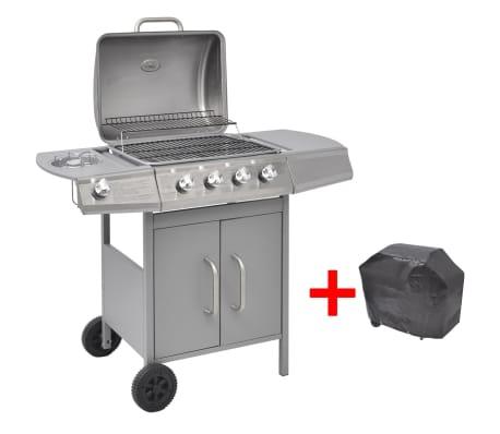 vidaXL Gasbarbecue 4+1 kookzone zilver[4/8]