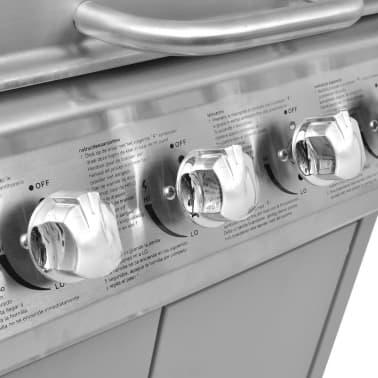 vidaXL Gasbarbecue 4+1 kookzone zilver[5/8]