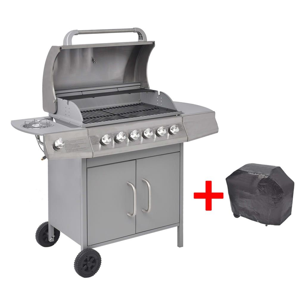 Afbeelding van vidaXL Gasbarbecue 6+1 kookzone zilver