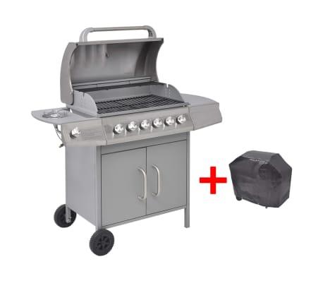 vidaXL Barbecue à gaz 6 + 1 zone de cuisson Argenté