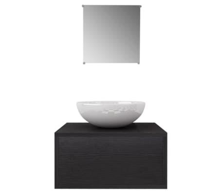 vidaXL 3ks kúpeľňová sada nábytku a umývadla čierna[3/8]