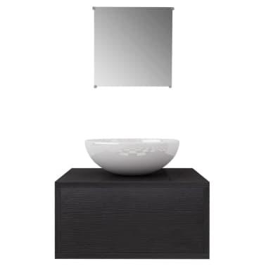 vidaXL 3 elementowy zestaw mebli łazienkowych czarnych i umywalka[3/8]