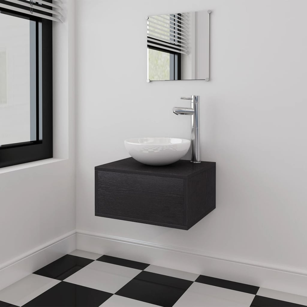 vidaXL Tříkusový set koupelnového nábytku a umyvadla, černý