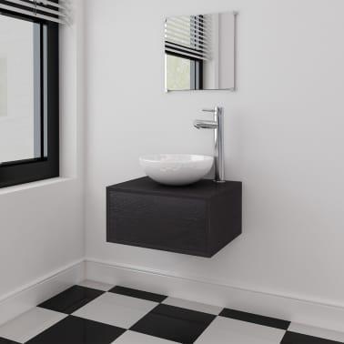 vidaXL 3 elementowy zestaw mebli łazienkowych czarnych i umywalka[1/8]