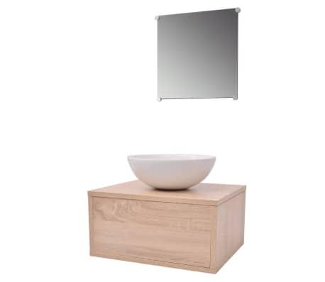 vidaXL 3 elementowy zestaw mebli łazienkowych beżowych i umywalka