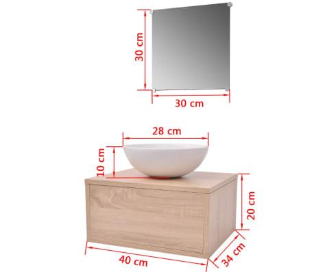 vidaXL 3 elementowy zestaw mebli łazienkowych beżowych i umywalka[8/8]
