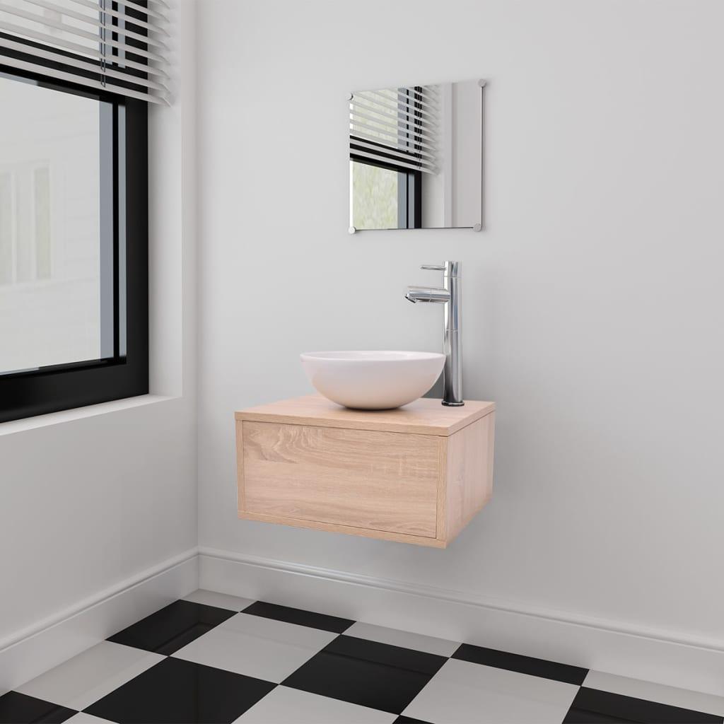 vidaXL Tříkusový set koupelnového nábytku a umyvadla, béžový