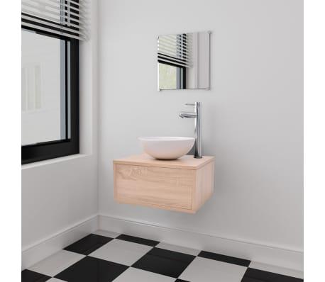 vidaXL 3 elementowy zestaw mebli łazienkowych beżowych i umywalka[1/8]
