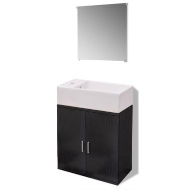 vidaXL Trzyelementowy zestaw do łazienki z umywalką, czarny[2/10]