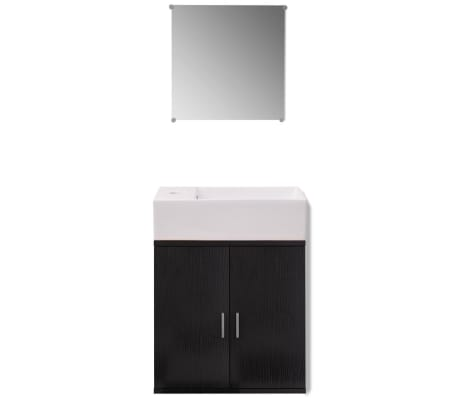 vidaXL Trzyelementowy zestaw do łazienki z umywalką, czarny[3/10]