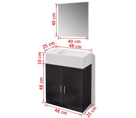 vidaXL Trzyelementowy zestaw do łazienki z umywalką, czarny[10/10]