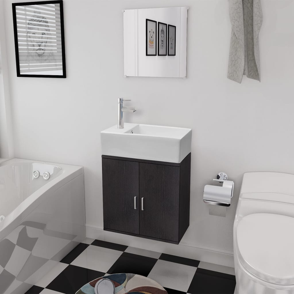 3dílný set koupelnového nábytku a umyvadla černý