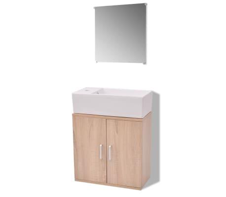 vidaXL Trzyelementowy zestaw do łazienki z umywalką, beżowy[2/10]