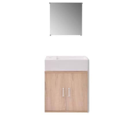 vidaXL Trzyelementowy zestaw do łazienki z umywalką, beżowy[3/10]