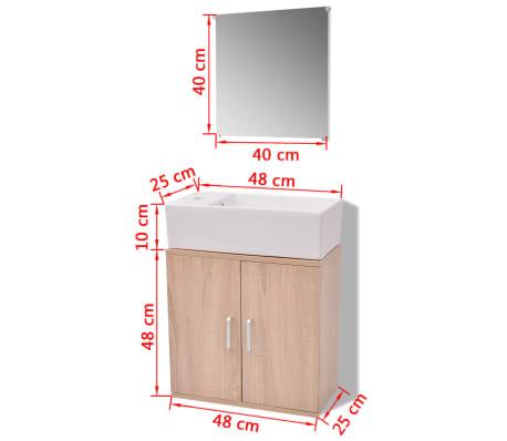 vidaXL Trzyelementowy zestaw do łazienki z umywalką, beżowy[10/10]