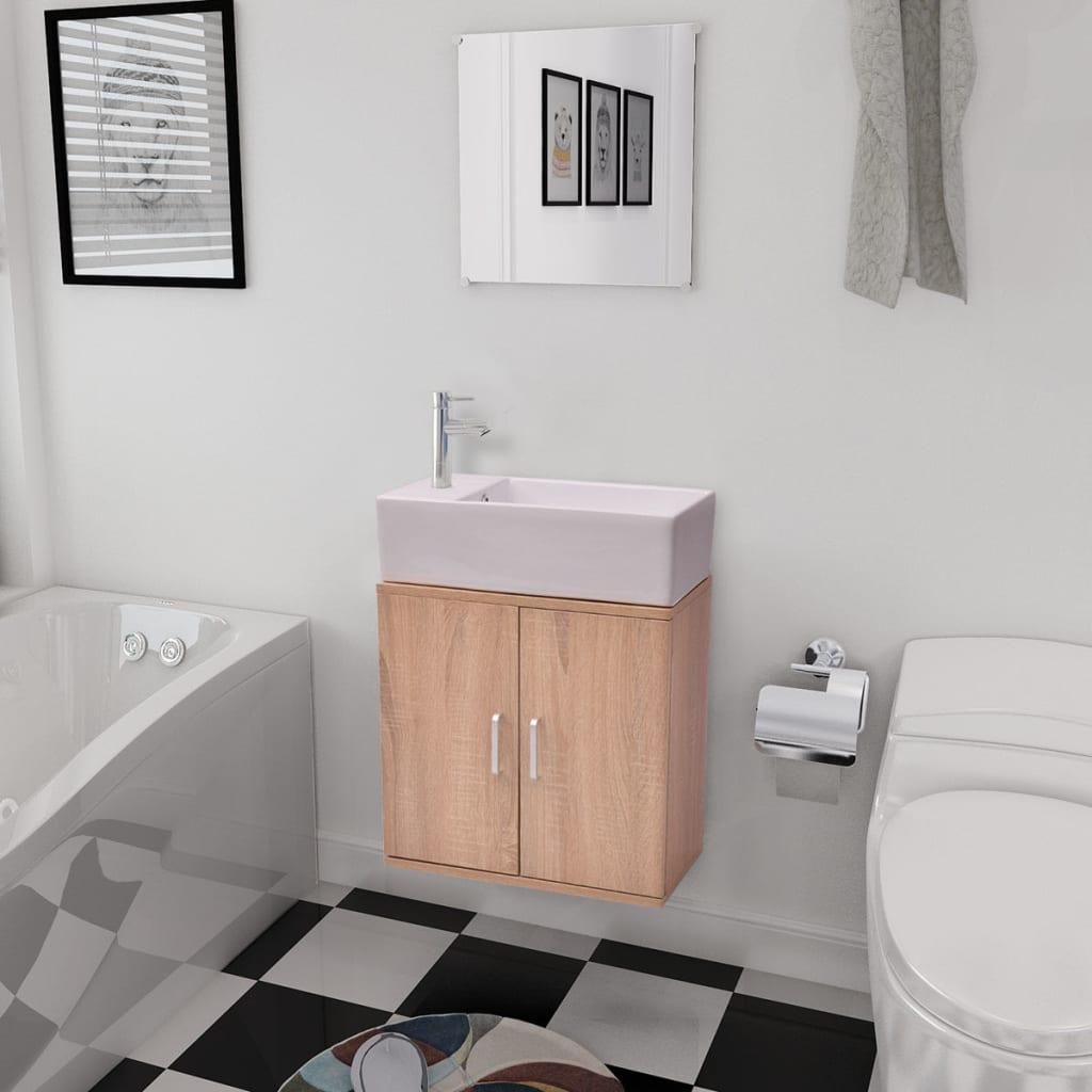 Tříkusový set koupelnového nábytku a umyvadla, béžový