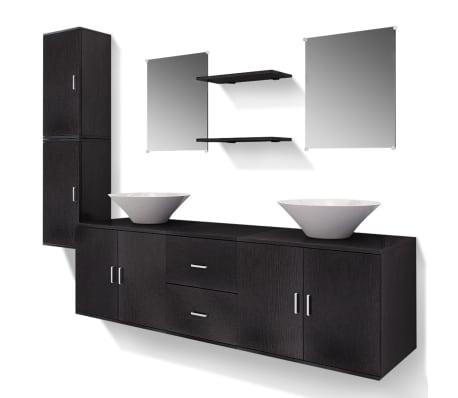 Acheter vidaxl mobilier de salle de bain avec lavabo 9 pcs for Salle de bain mobilier